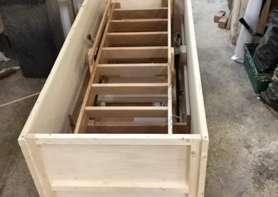 Crated loft ladder for export open